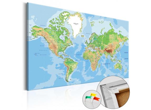 Afbeelding op kurk World Geography - 90x60 cm
