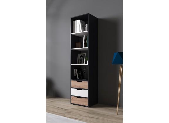 Boekenkast Ivano - Grijs - Wit - Eiken - 50 cm