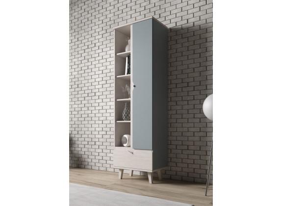 Boekenkast Macon - Blauw - Wit - 60 cm