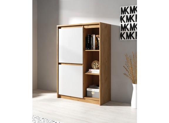 Boekenkast Xanti - Licht eiken - Wit - 92 cm