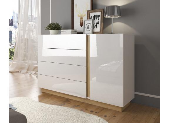 Commode Ashley - Wit - Eiken - 138 cm