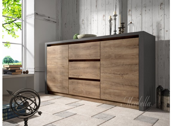 Dressoir Monaco - Eiken - Grijs - 140 cm