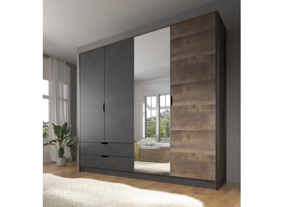 Kledingkast Acasia - Grijs - Eiken - 220 cm