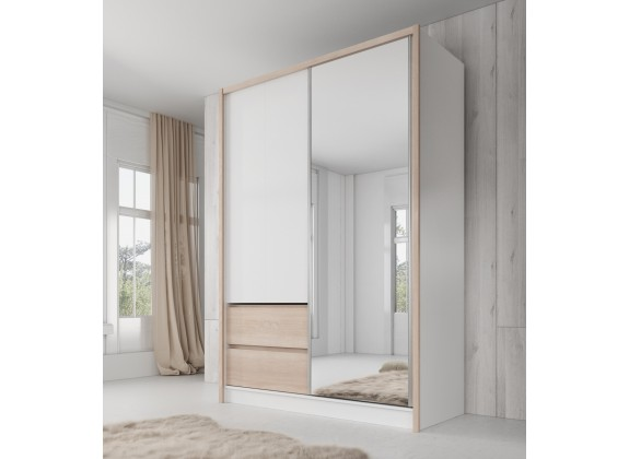 Kledingkast Sento - Wit - Licht eiken - 150 cm