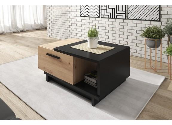 Salontafel Incala - Eiken - Zwart - 90 cm