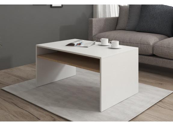 Salontafel Ivano - Wit - Eiken - 90 cm - ACTIE