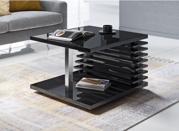 Salontafel Kyaro - Hoogglans zwart - 70 cm - ACTIE