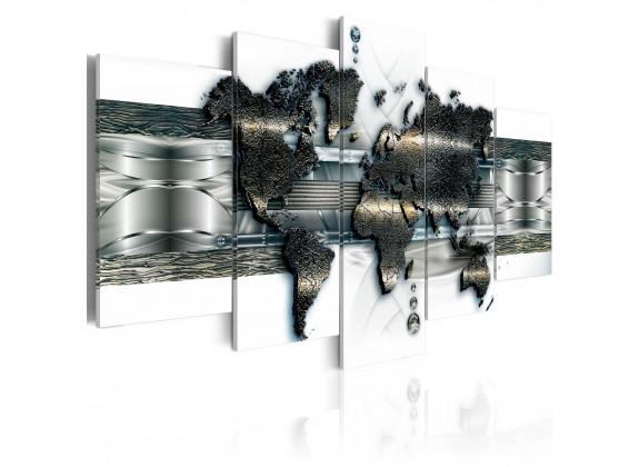 Schilderij Metal World Map - 100x50 cm