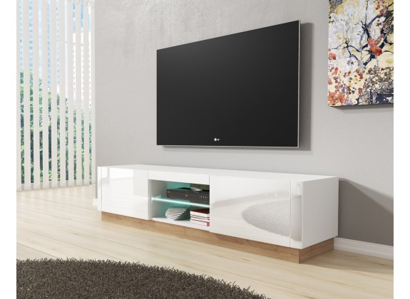 tv meubel aron wit eiken 165 cm tv meubels kasten en vitrinekasten woonkamer meubella. Black Bedroom Furniture Sets. Home Design Ideas