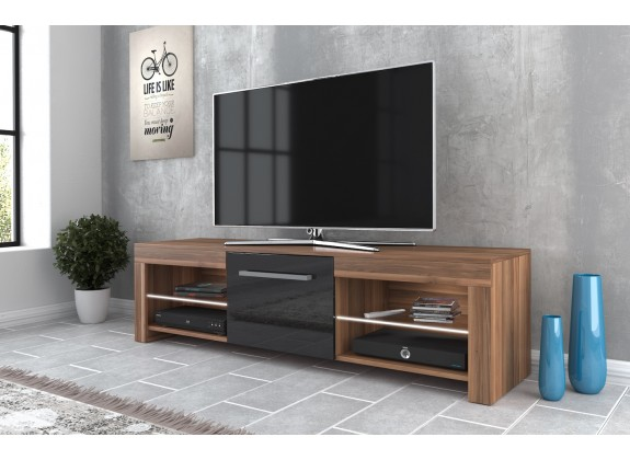 TV-Meubel Fandy - Eiken - Zwart - 160 cm