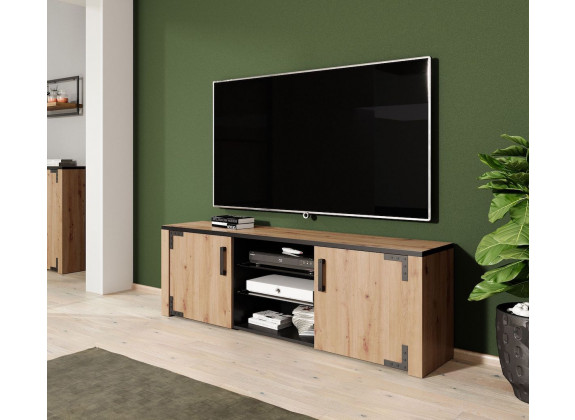TV-Meubel Lapis - Eiken - Zwart - 168 cm