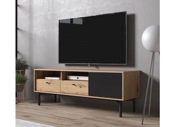 TV-Meubel Fiona - Eiken - Zwart - 151 cm