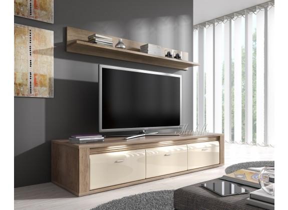 TV-Meubel Camara + wandplank - Grijs Eiken - Creme - 154 cm : Meubella