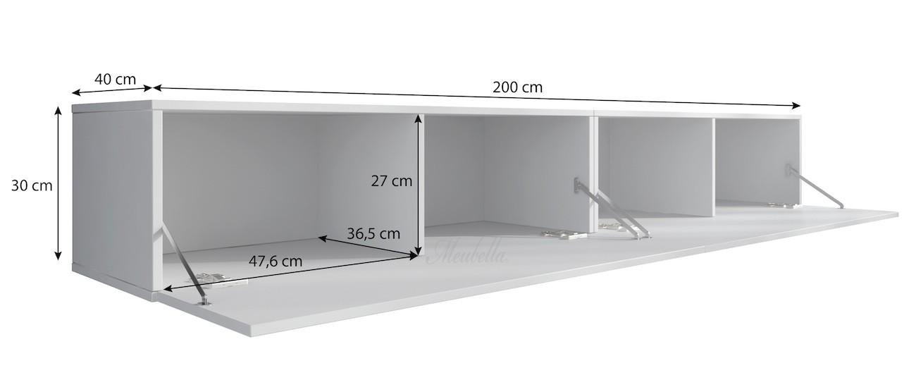 tv meubel flame grijs wit 200 cm meubella. Black Bedroom Furniture Sets. Home Design Ideas