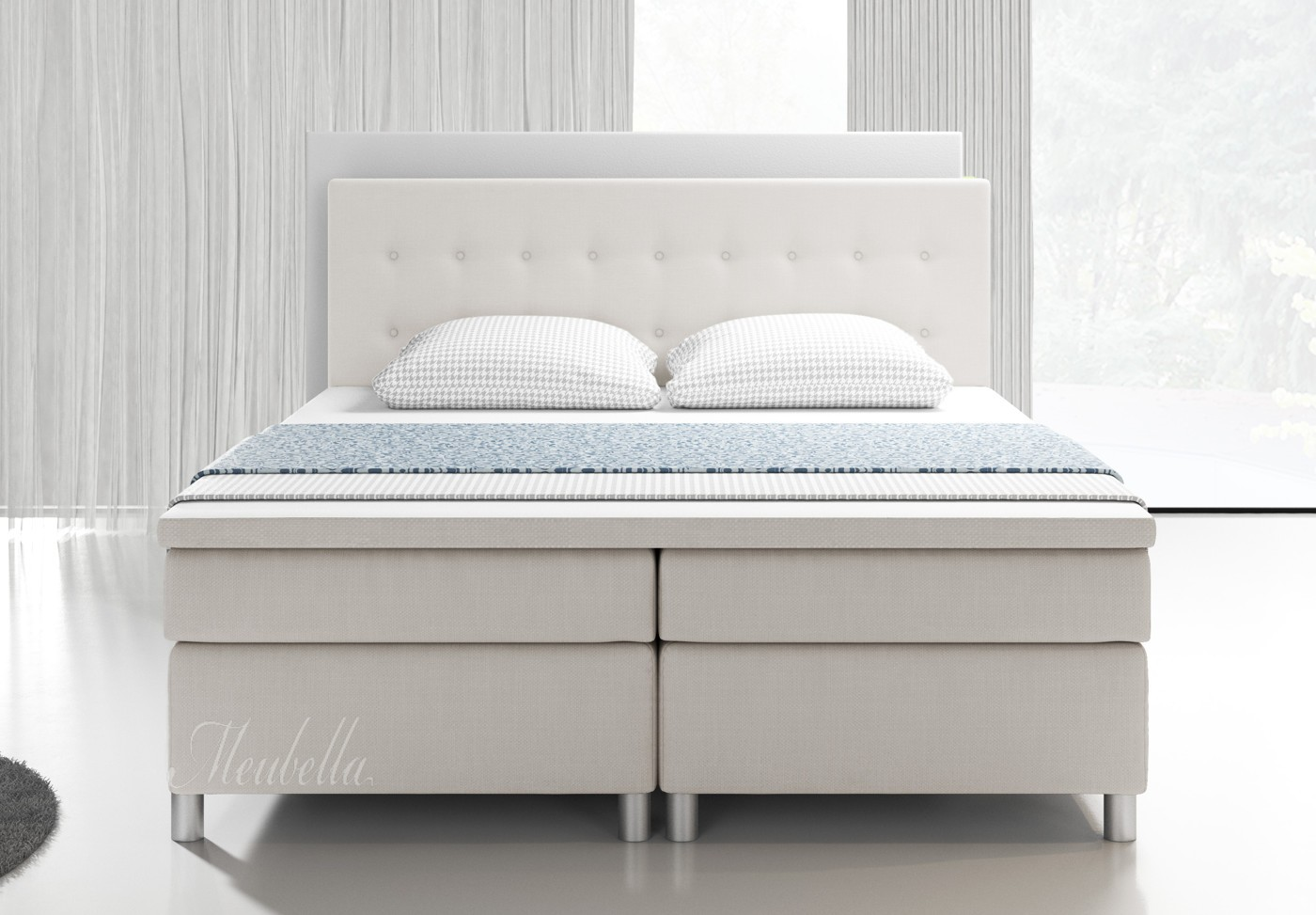 boxspring batavia wit 140x200 cm meubella. Black Bedroom Furniture Sets. Home Design Ideas