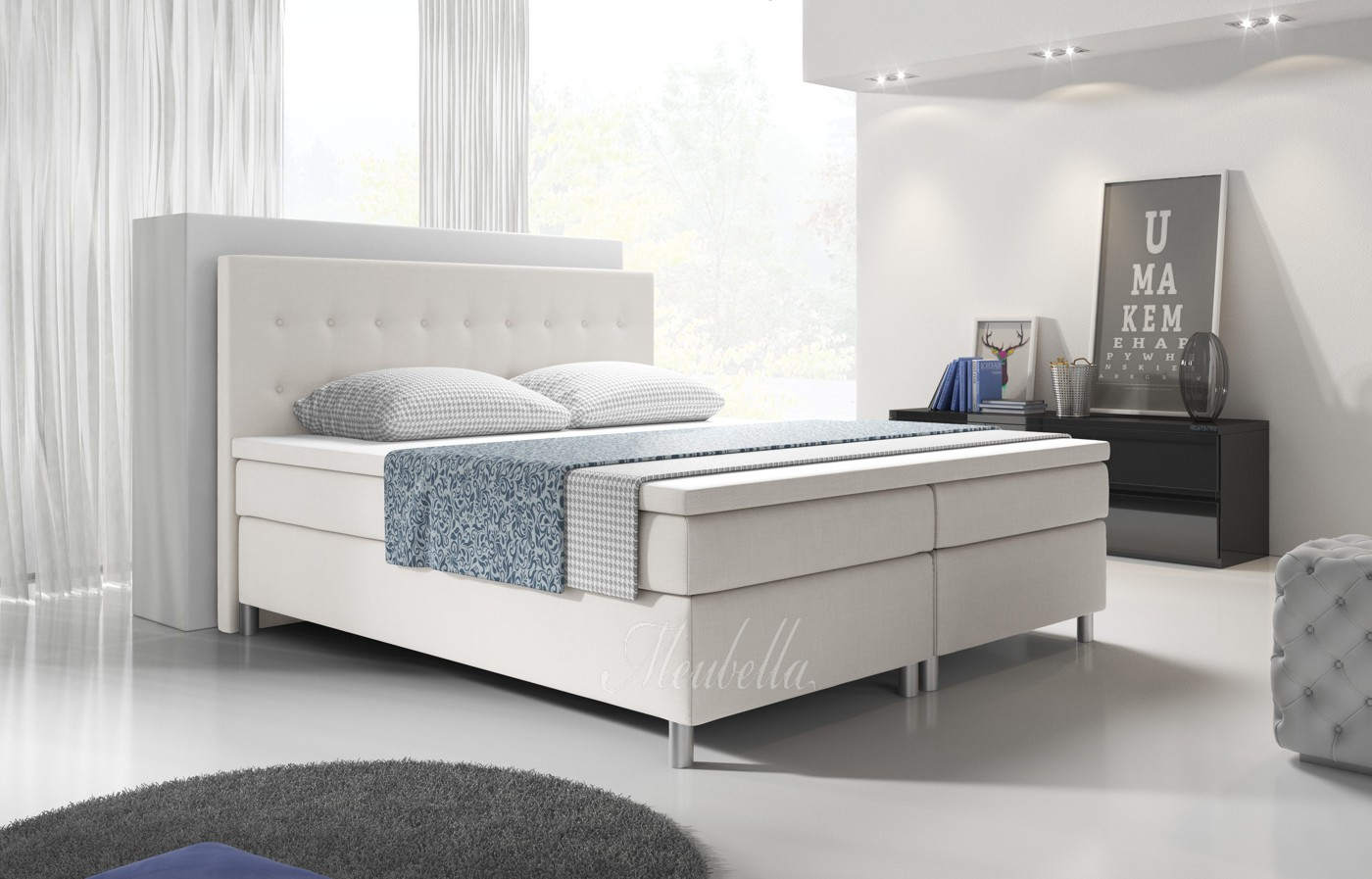 boxspring batavia wit 160x200 cm meubella. Black Bedroom Furniture Sets. Home Design Ideas