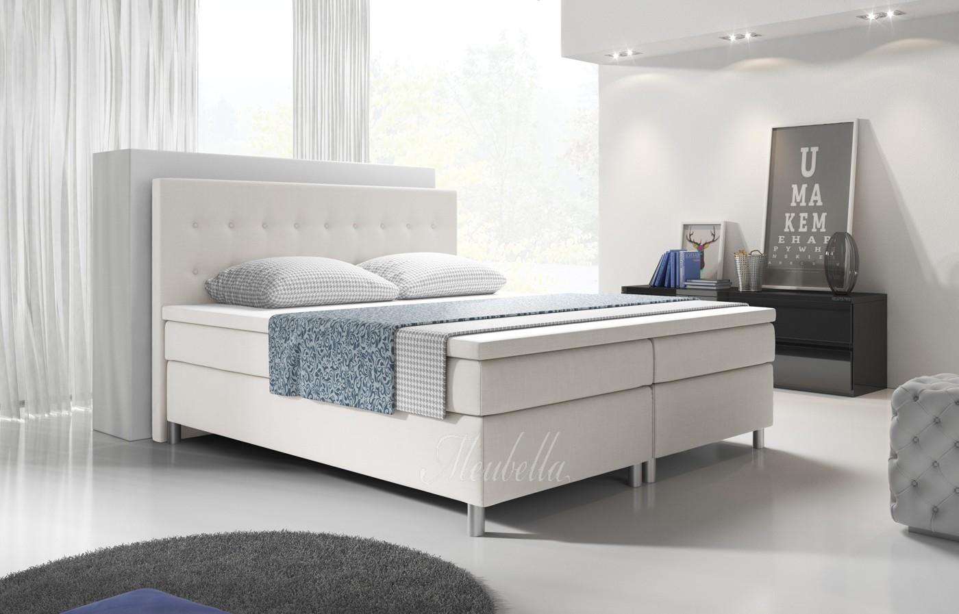 boxspring batavia wit 160x200 cm meubella. Black Bedroom Furniture Sets. Home Design Ideas