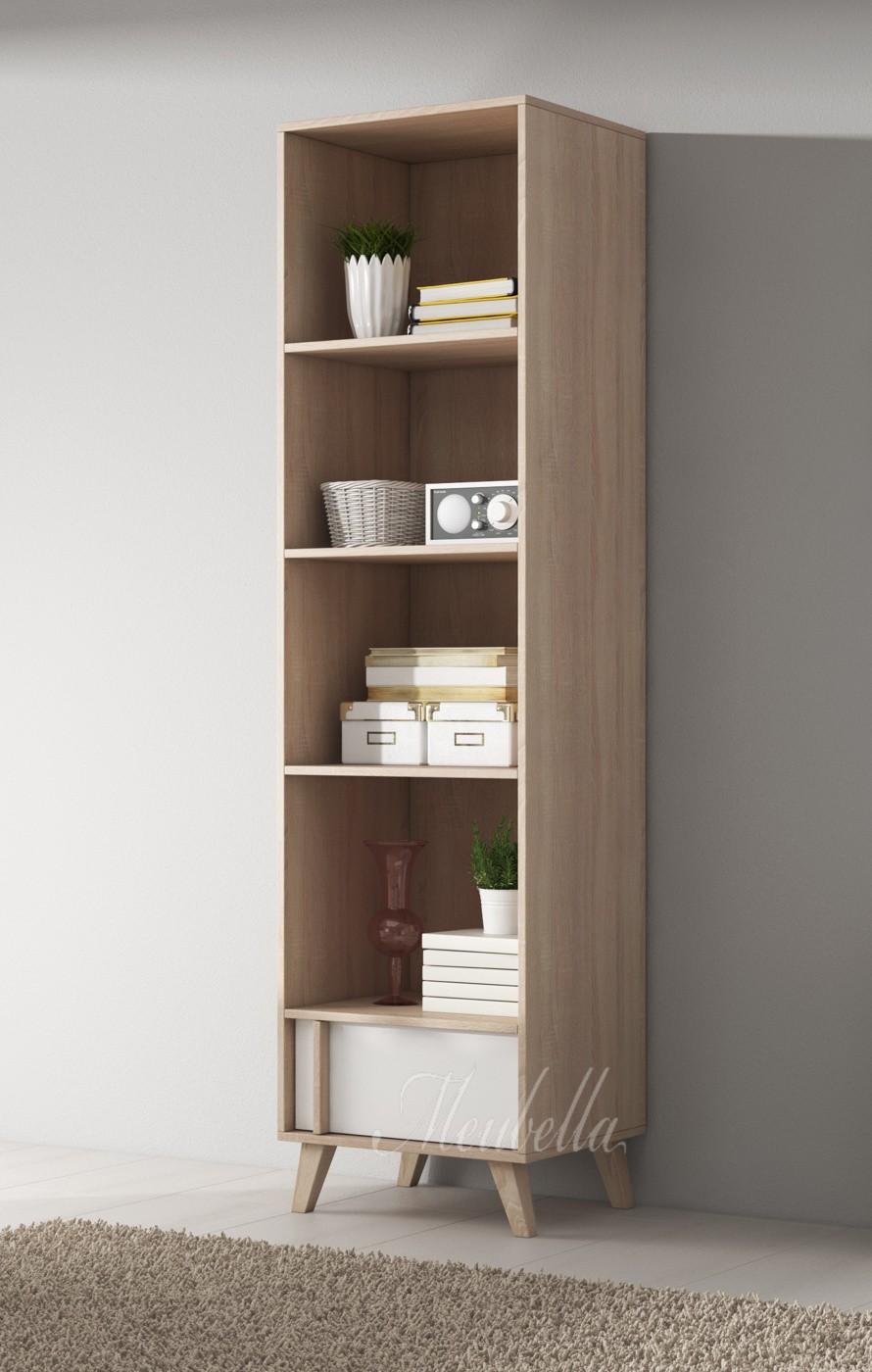 boekenkast mira wit licht eiken 51 cm