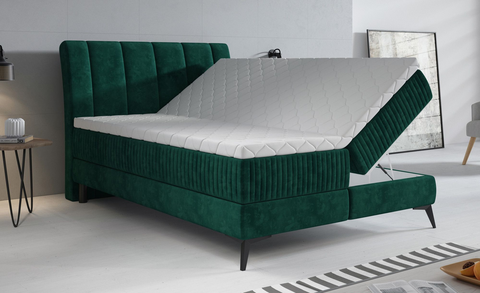 Boxspring Acotta - Groen - Velvet - 140x200 cm - Compleet - ACTIE