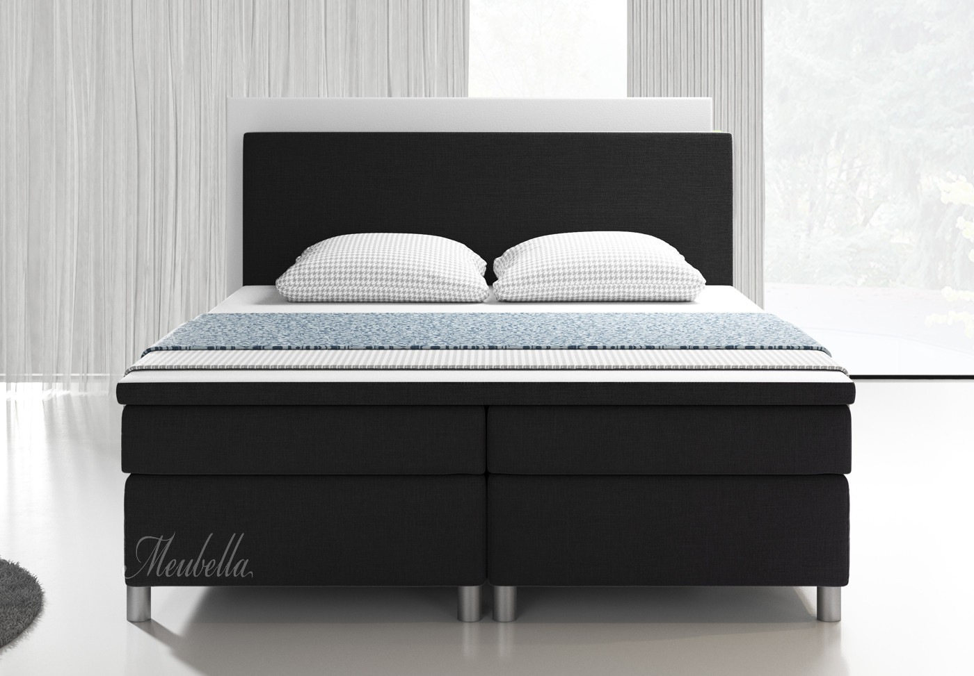 boxspring alexandria zwart 140x200 cm meubella. Black Bedroom Furniture Sets. Home Design Ideas