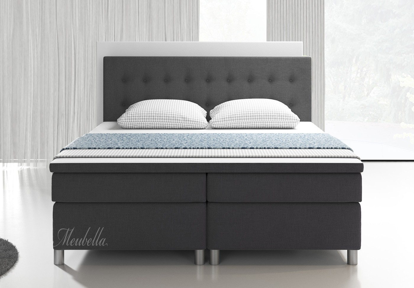 boxspring batavia grijs 180x200 cm meubella. Black Bedroom Furniture Sets. Home Design Ideas