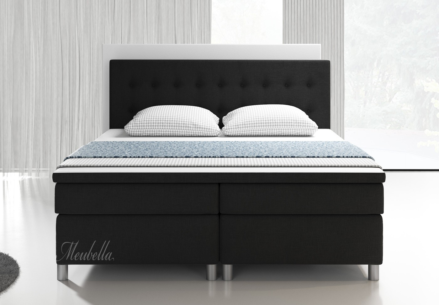 boxspring batavia zwart 140x200 cm meubella. Black Bedroom Furniture Sets. Home Design Ideas