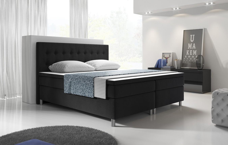 Compleet Bed Met Matras 160x200.Boxspring Barton Zwart 160x200 Cm Compleet