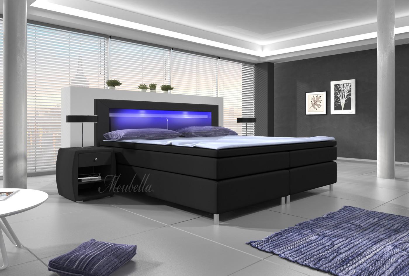 Boxspring Cylano - Zwart - Blauw LED - 180x200 cm  Meubella