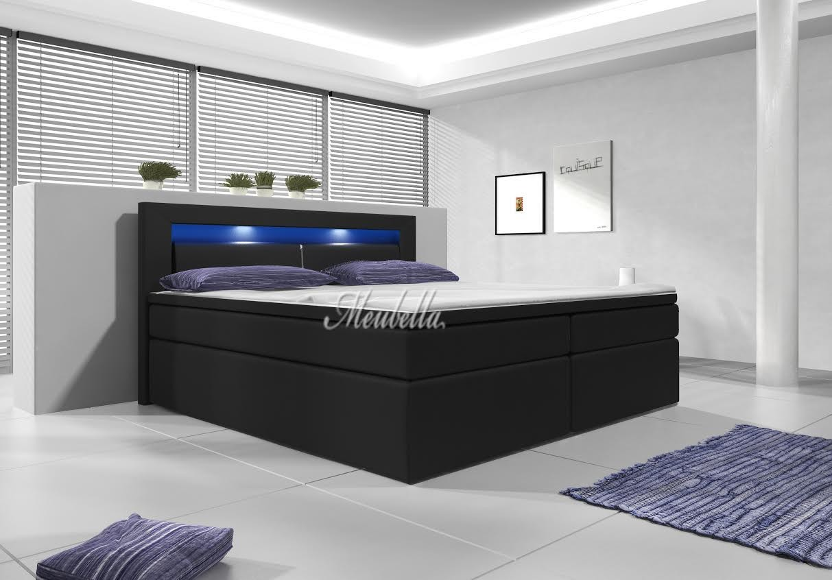 Boxspring Cylano - Zwart - Blauw LED - Met gasliftsysteem - 140 x 200 ...