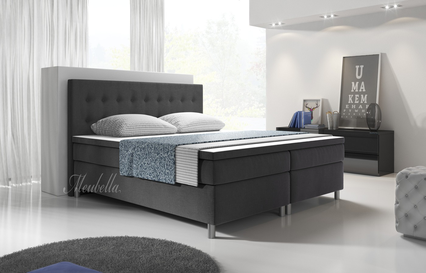 boxspring batavia grijs 140x200 cm meubella. Black Bedroom Furniture Sets. Home Design Ideas