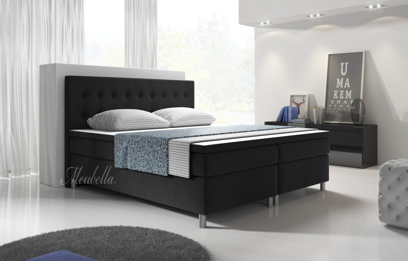 boxspring batavia zwart 200x200 cm meubella. Black Bedroom Furniture Sets. Home Design Ideas