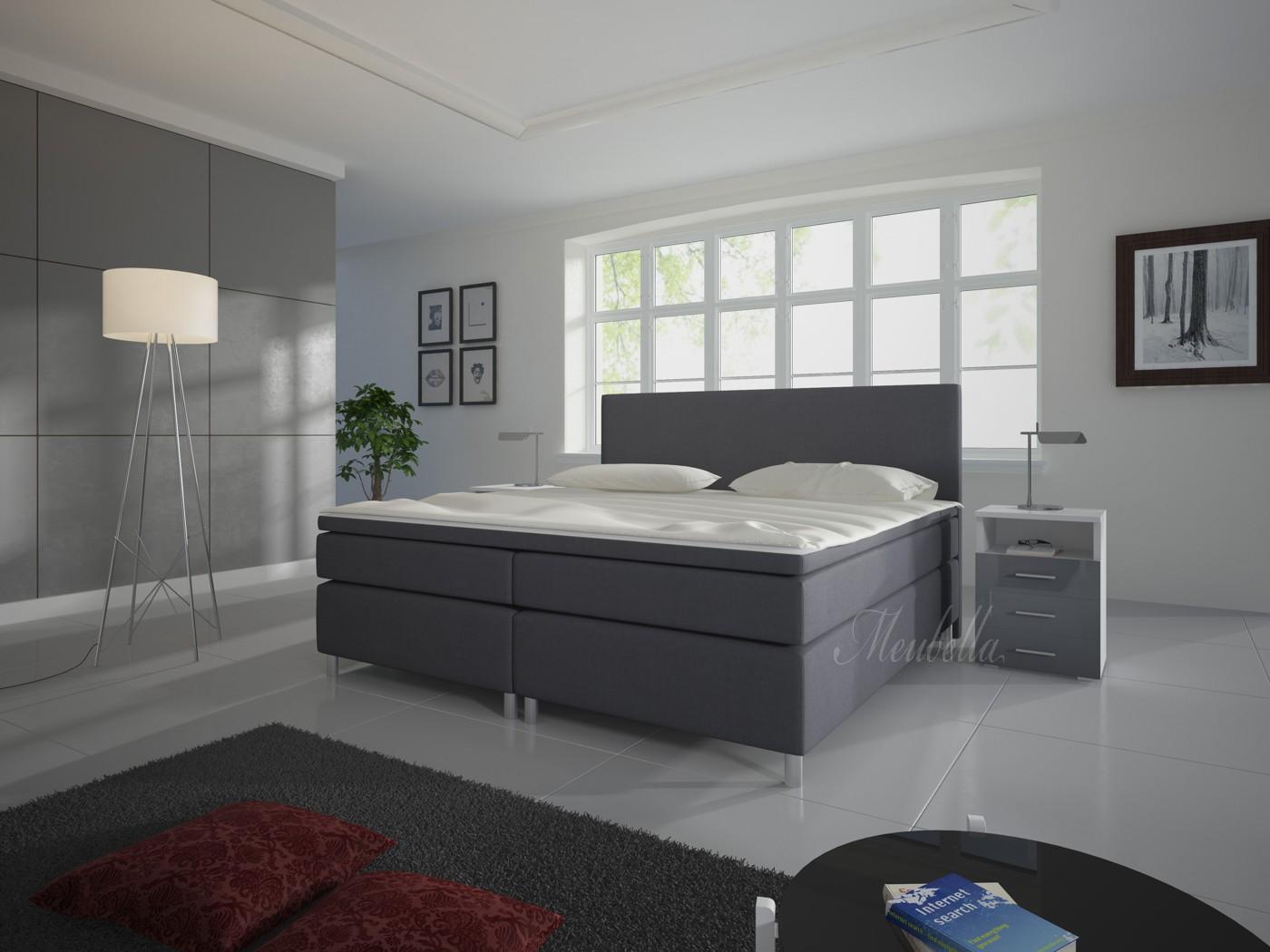Slaapkamer met grijze boxspring digtotaal - Grijze slaapkamer ...