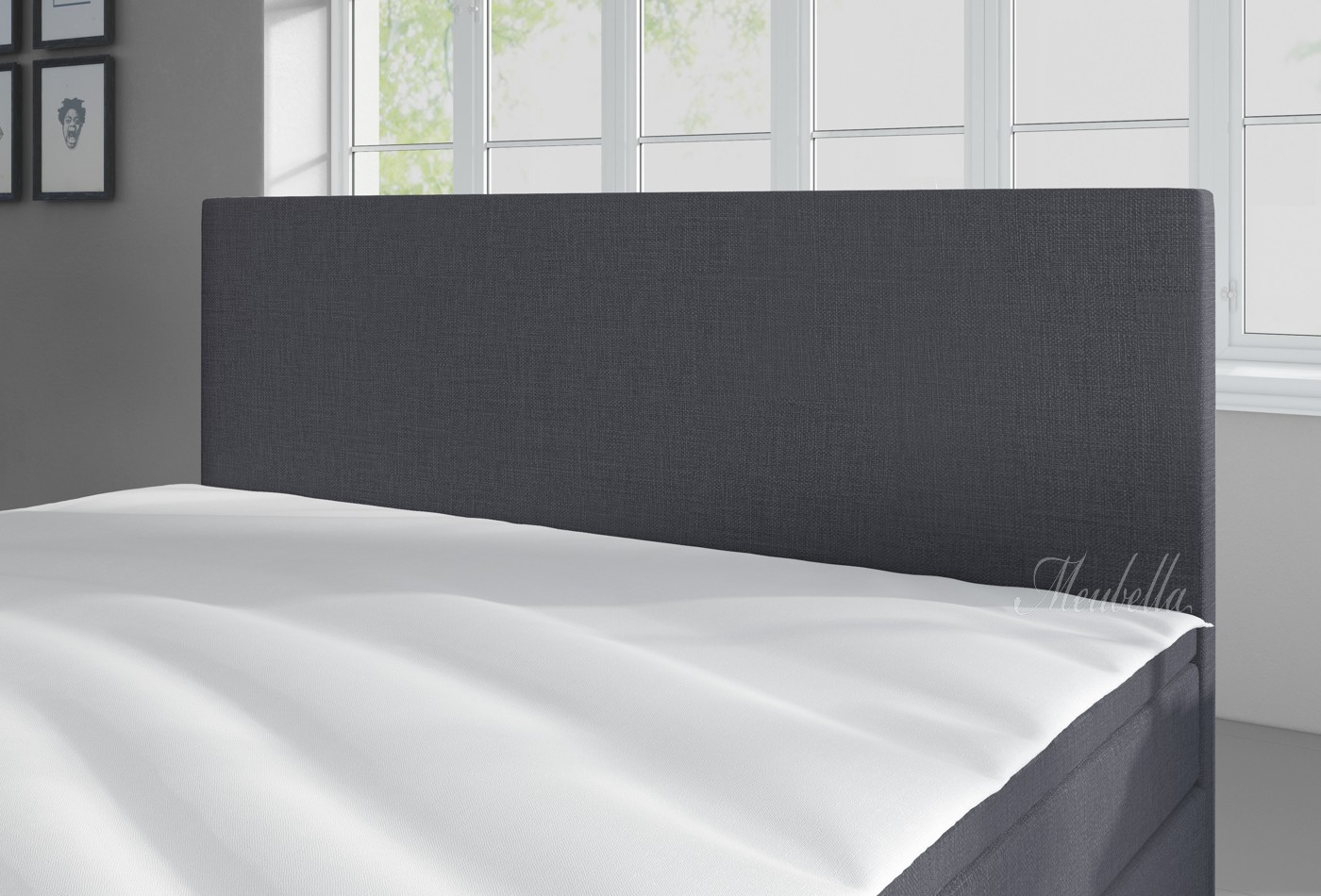 boxspring sona grijs 140x200 cm meubella. Black Bedroom Furniture Sets. Home Design Ideas