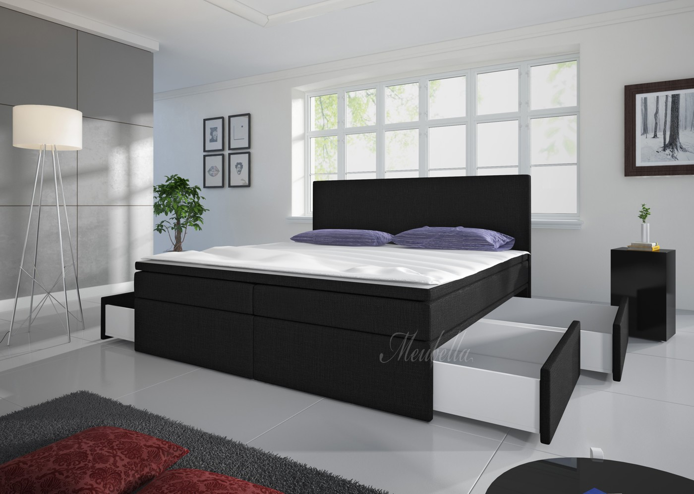 boxspring sona zwart 4 opberglades 140x200 cm meubella. Black Bedroom Furniture Sets. Home Design Ideas
