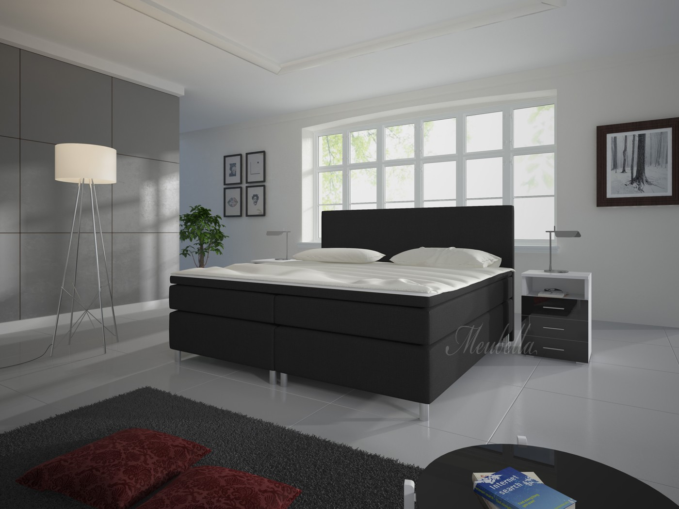boxspring sona zwart 140x200 cm meubella. Black Bedroom Furniture Sets. Home Design Ideas