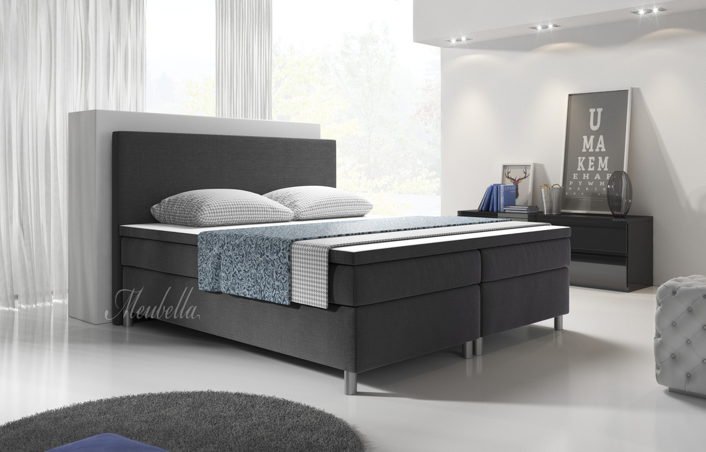 boxspring alexandria grijs 200x200 cm meubella. Black Bedroom Furniture Sets. Home Design Ideas