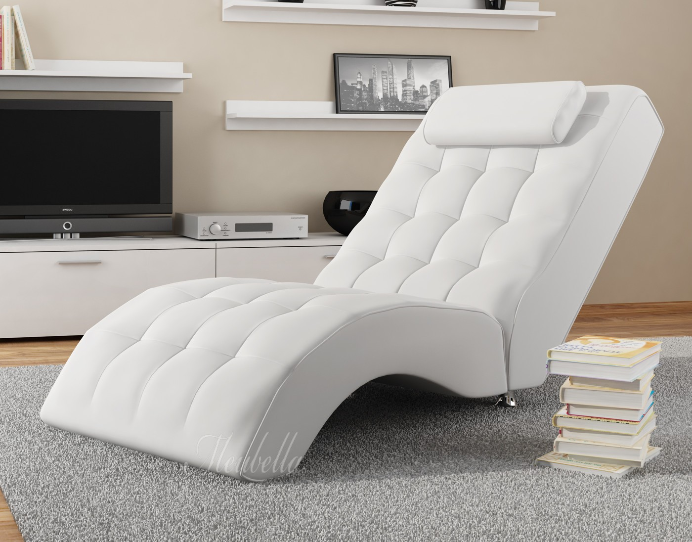 chaise longue cherry wit chaise longues banken woonkamer meubella. Black Bedroom Furniture Sets. Home Design Ideas