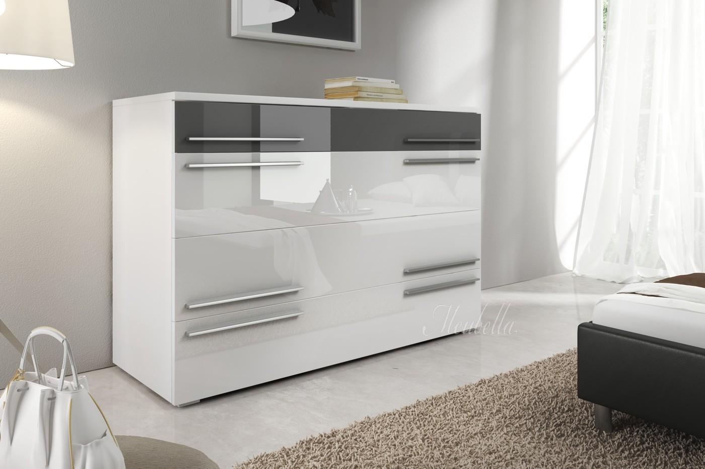 Commode costello grijs wit 120 cm meubella - Trendy slaapkamer ...