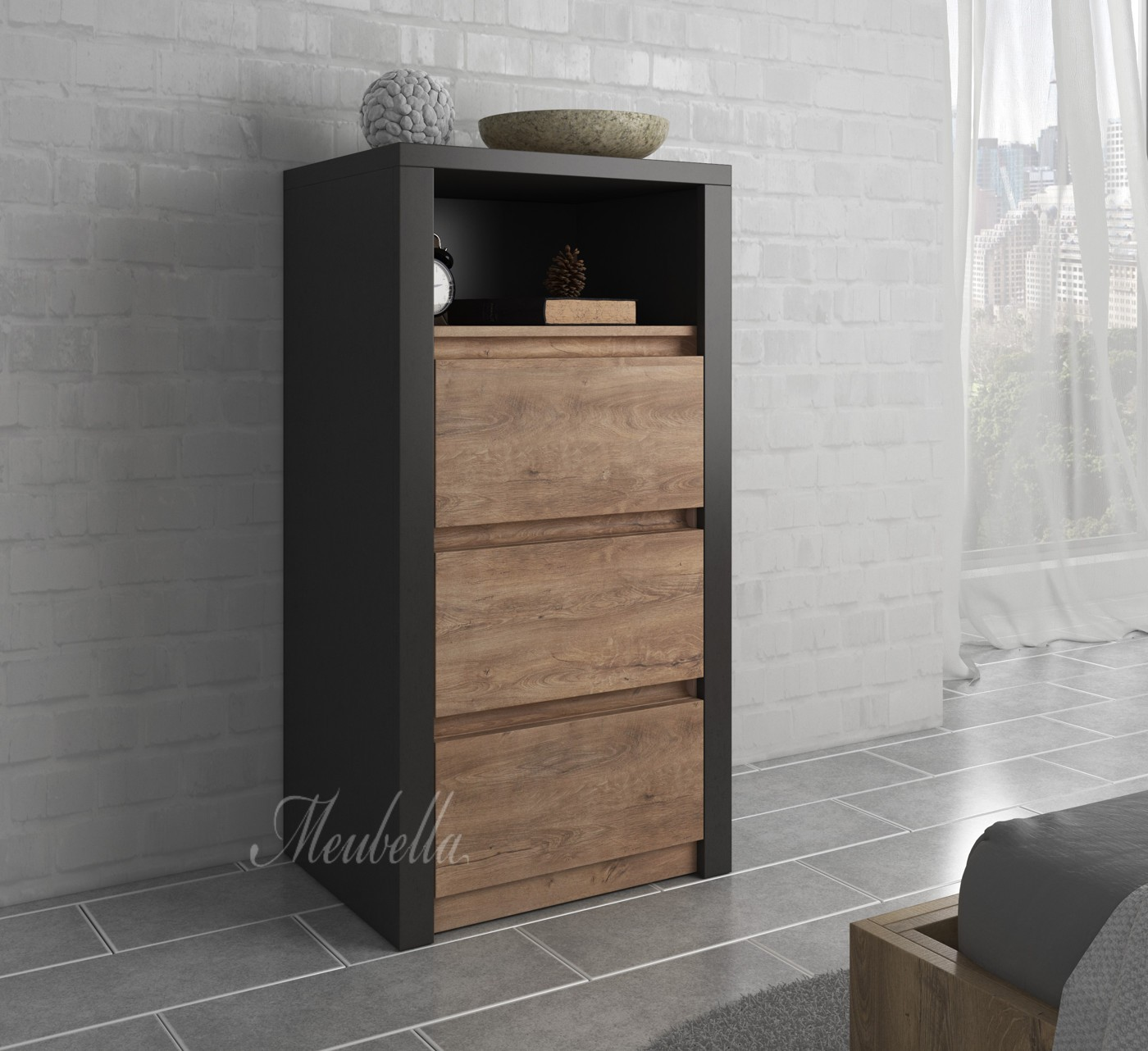 commode monaco eiken grijs 50 cm meubella. Black Bedroom Furniture Sets. Home Design Ideas
