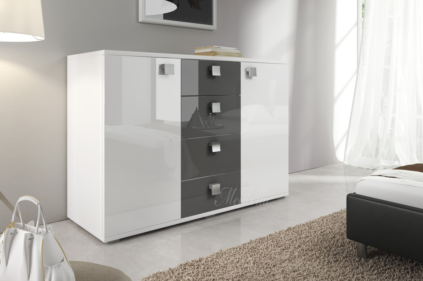 Witte Commode Slaapkamer : Commode rivalo 120 grijs wit commodes kasten slaapkamer