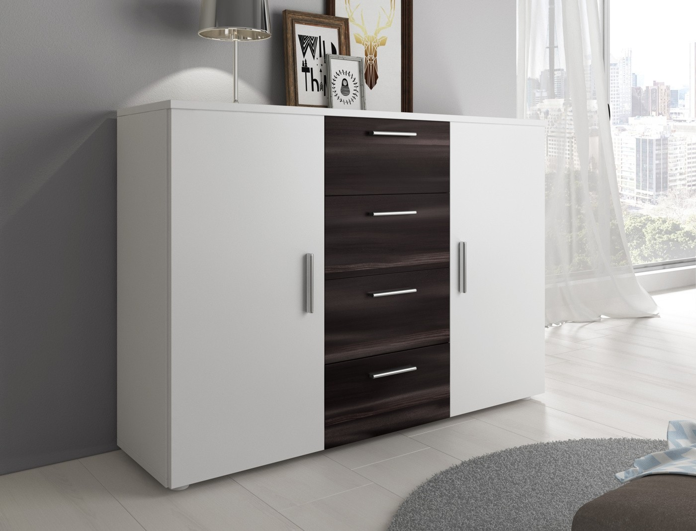slaapkamer victor 180 wit zwart eiken groot