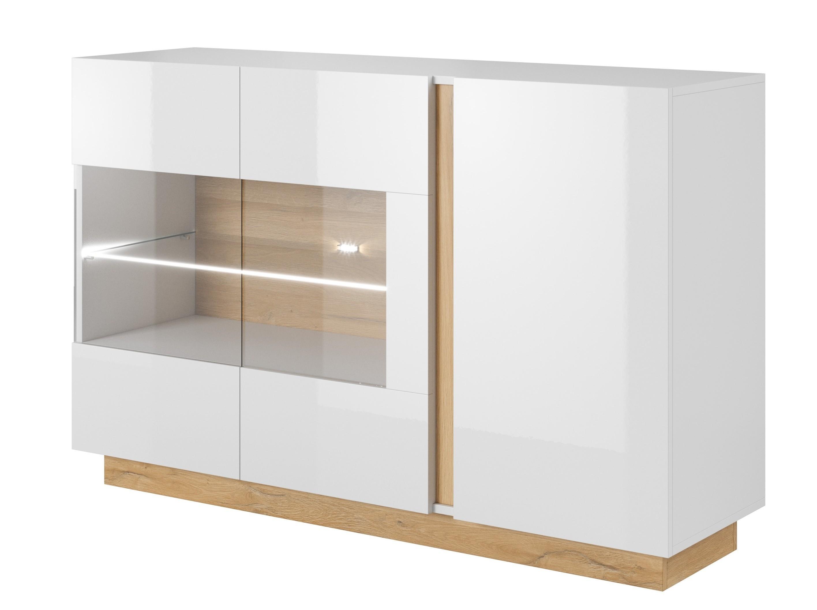 Sidetable Wit Met Glas.Dressoir Ashley Wit Eiken 138 Cm Met Glas