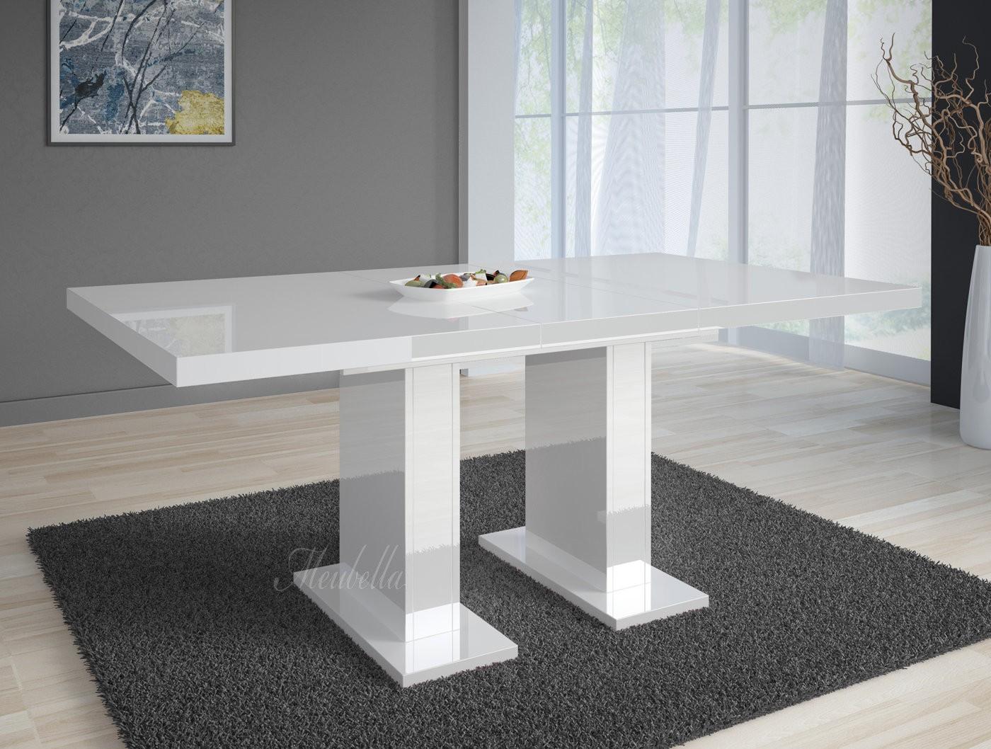 Moderne Uitschuifbare Eetkamertafels.Eetkamertafel Glamour 160 Wit Uitschuifbaar Meubella