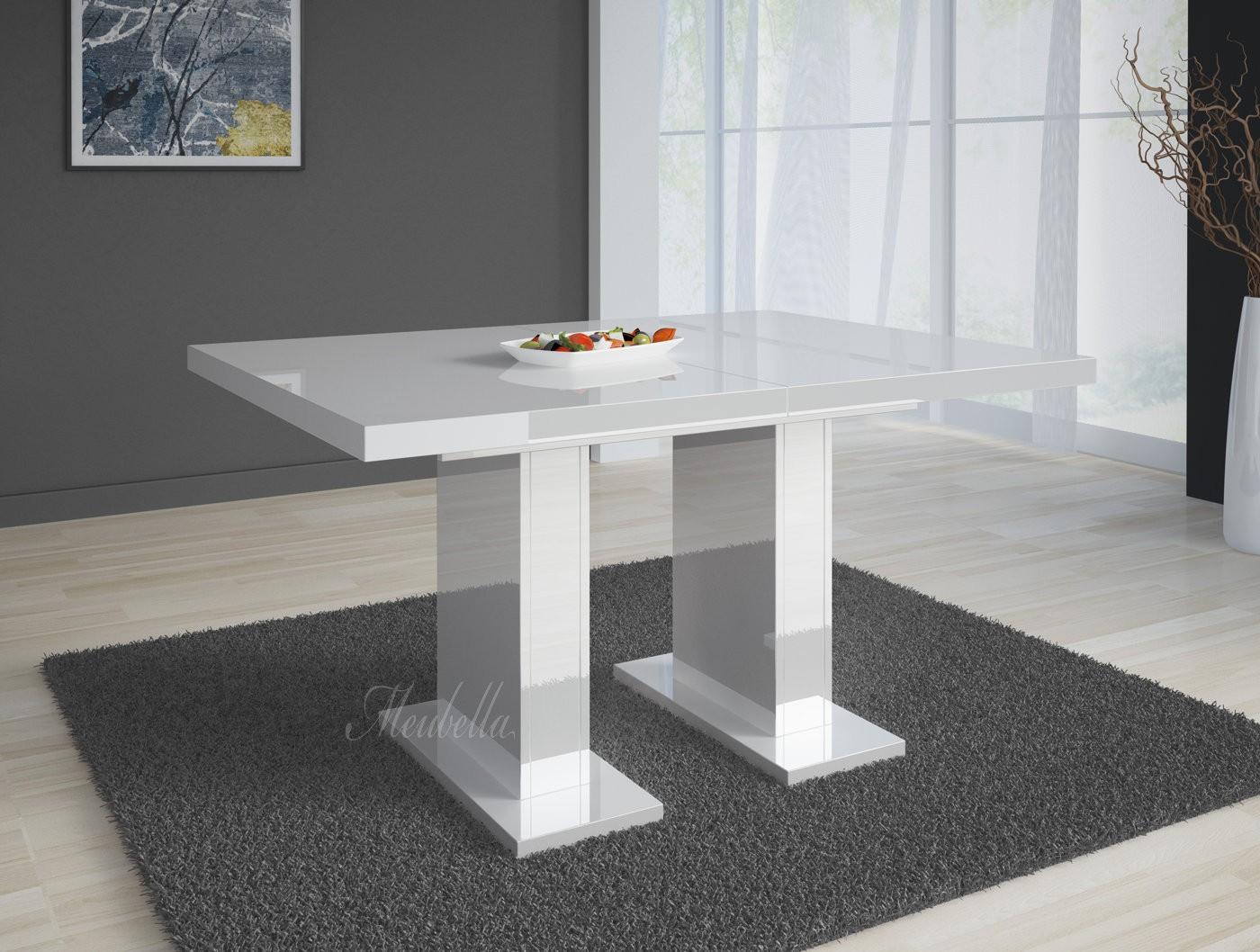 Hoogglans Witte Eettafel 140.Eetkamertafel Glamour 160 Wit Uitschuifbaar Meubella