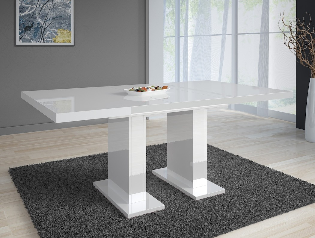 Eettafel Wit Uitschuifbaar.Eetkamertafel Glamour 160 Wit Uitschuifbaar