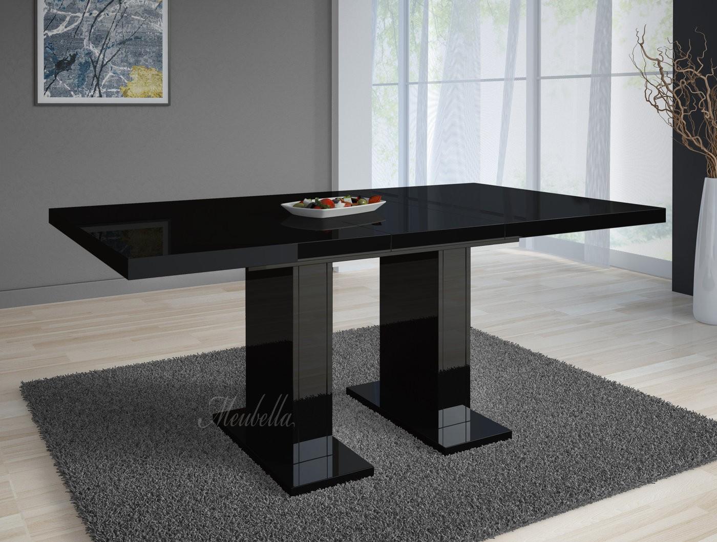 Uitschuifbare Eettafel 160 Cm.Eetkamertafel Glamour 160 Zwart Uitschuifbaar Meubella