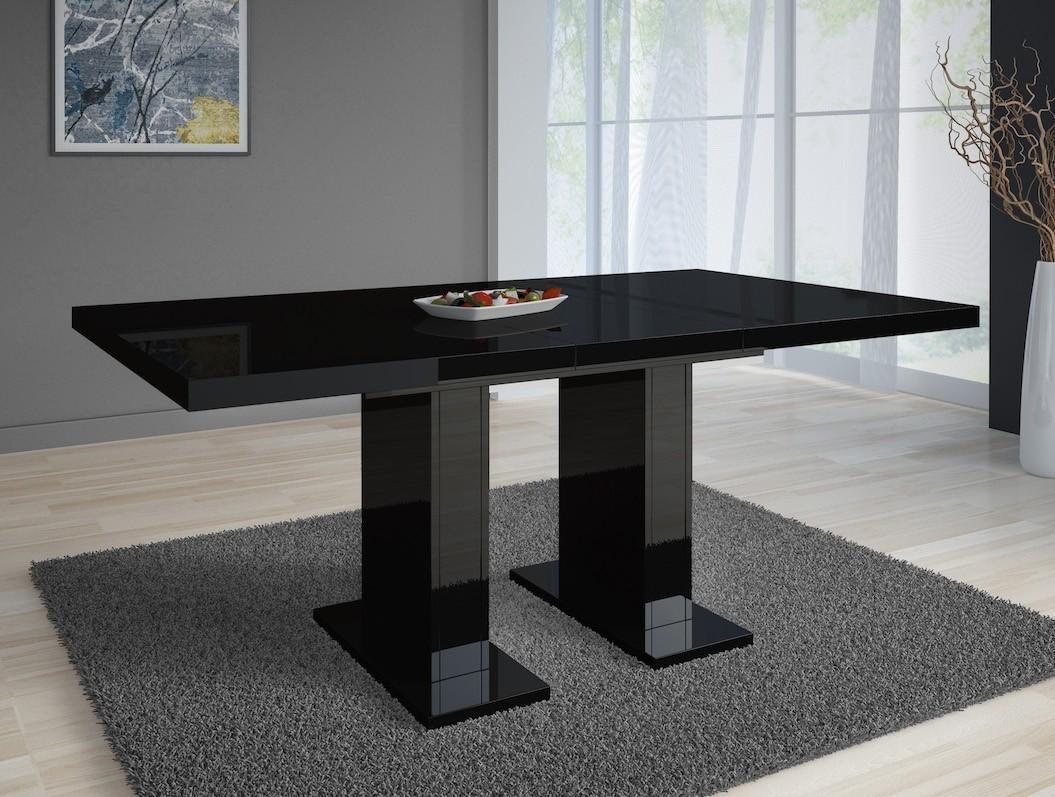 Zwarte Uitschuifbare Eettafel.Eetkamertafel Glamour 160 Zwart Uitschuifbaar