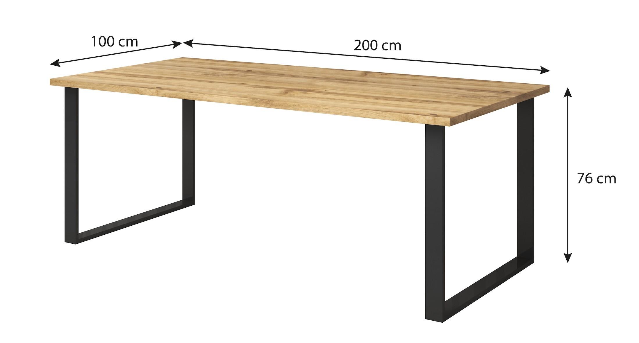 Eettafel Wit 200 Cm.Eetkamertafel Harlow Eiken Zwart 200 Cm Meubella