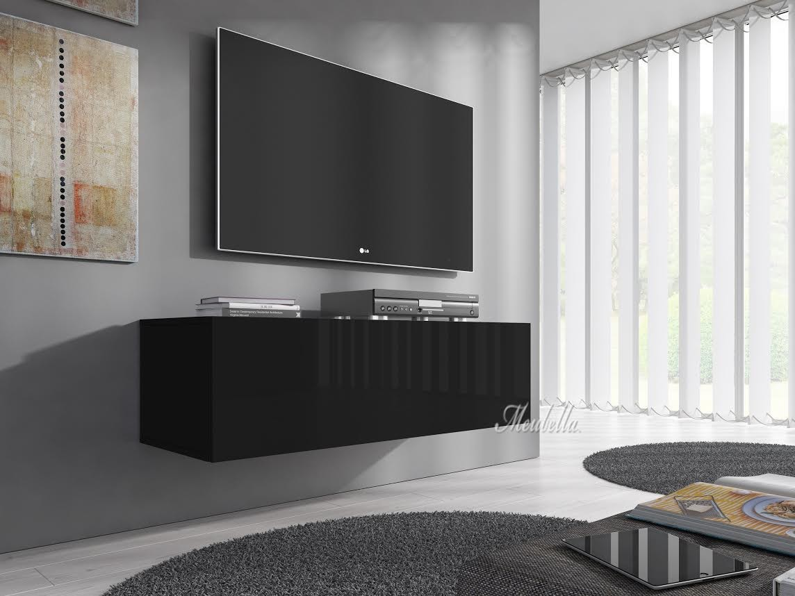 tv meubel flame zwart 100 cm meubella. Black Bedroom Furniture Sets. Home Design Ideas