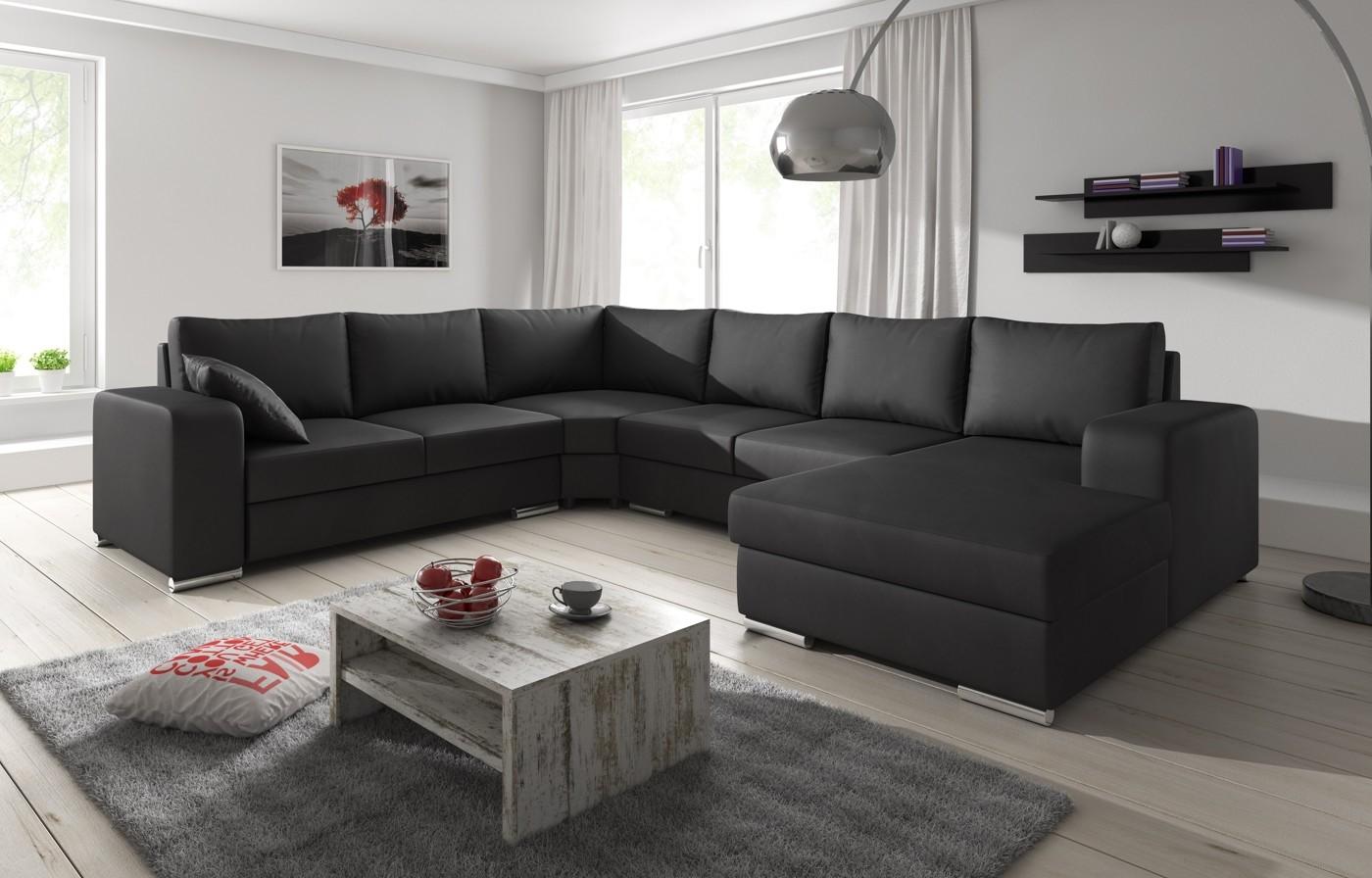 Hoekbank Leer Lounge.Hoekbank Adel Zwart Leer Rechts Meubella